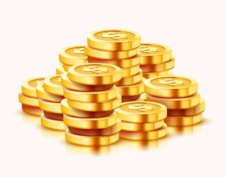 Pila creciente de monedas de dólar de oro aisladas sobre fondo blanco. Concepto de economía. Ilustración vectorial