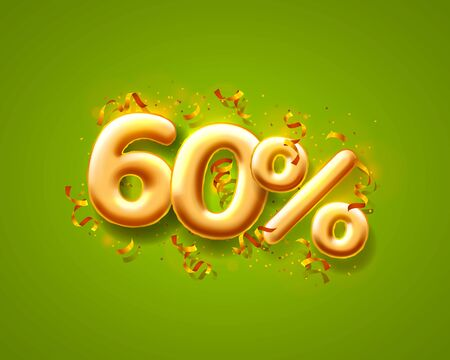 Sale 60 off ballon number on the green background. Vector illustration 일러스트