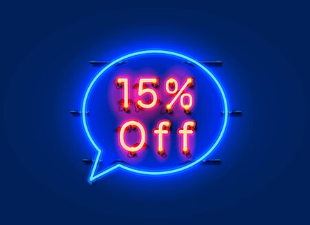 Neon chat frame 15 off text banner. Night Sign board. Vector illustration