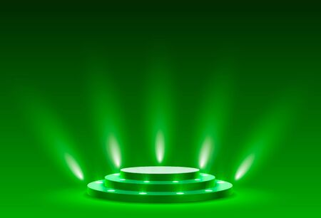 Stage podium with lighting, Stage Podium Scene with for Award Ceremony on green Background, Vector illustration Archivio Fotografico - 137302237