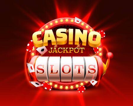 Casino slots jackpot 777 signboard, frame light. Vector illustration Illustration