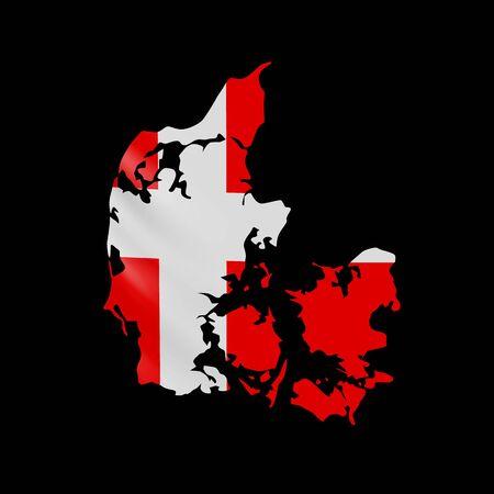 Hanging Denmark flag in form of map. Kingdom of Denmark. National flag concept.