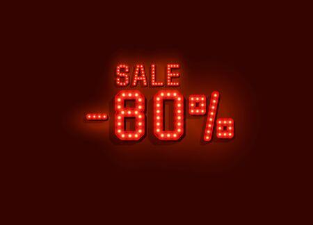 Banner de texto de venta de neón 80%. Signo de noche.
