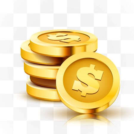 Stack of golden dollar coins isolated on transparent background. 向量圖像