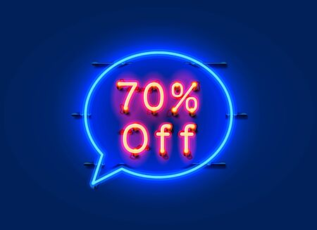 Neon chat frame 70% off text banner. Night Sign board.