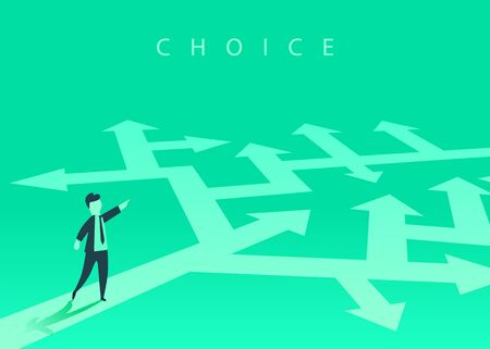 The concept of choosing the way of business and a businessman showing the direction. Problem solving, way to success. Vector illustration.