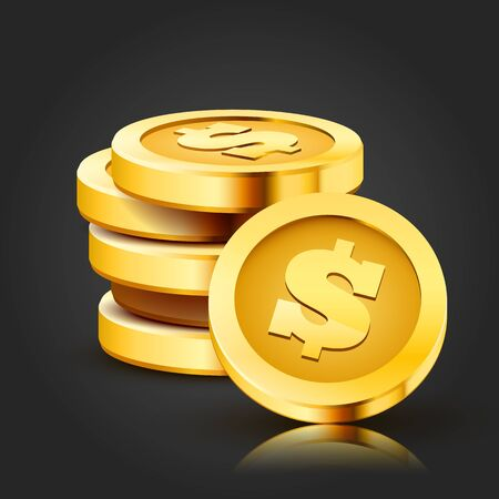 Stack of golden dollar coins isolated on dark background. 向量圖像