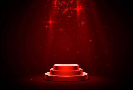 Stage podium with lighting. Stage Podium Scene with for Award Ceremony on red Background.
