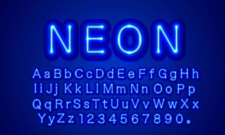 Blue neon color font. English alphabet and numbers sign.