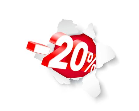 20% discount pops out of paper