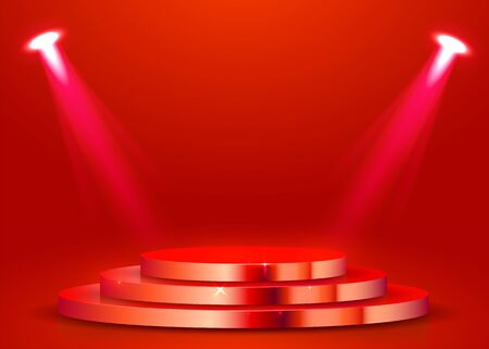 Abstract round podium illuminated with spotlight. Award ceremony concept. Ilustração