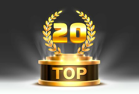 Top 20 best  award sign, golden object.  イラスト・ベクター素材