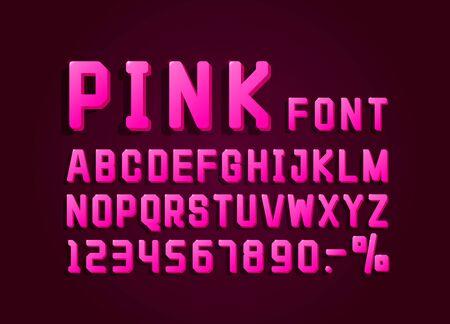 Retro font with pink vintage style, light sign set.