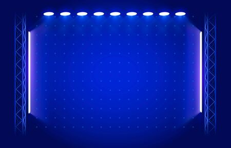 Stage backdrop with lighting  on blue Background.