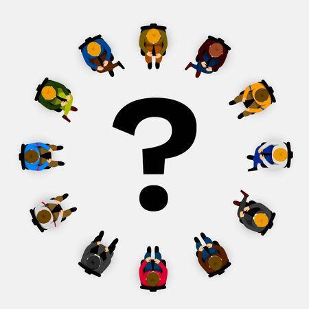 People sitting in a circle with question mark in the middle