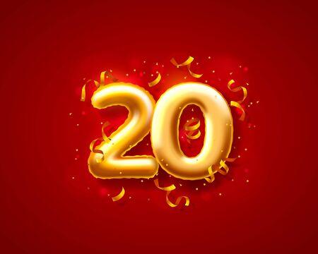 Number 20 festive balloon