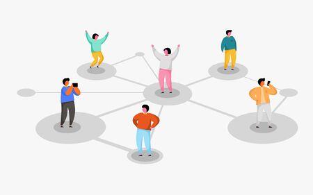 Connecter les gens. Notion de réseau social. Parrainez un programme d'amis. Vecteurs