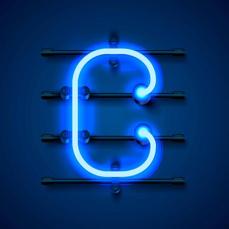 Neon font letter c, art design signboard. Vector illustration