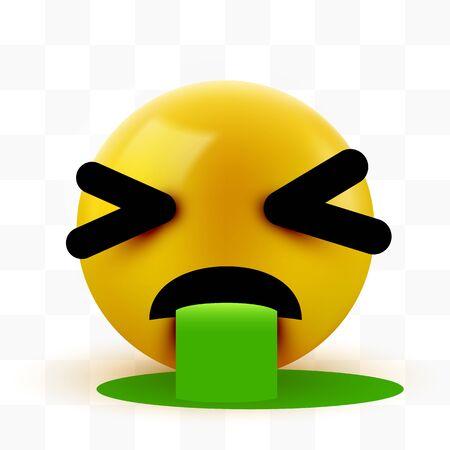 Vomiting emoticon isolated on white background. Illustration
