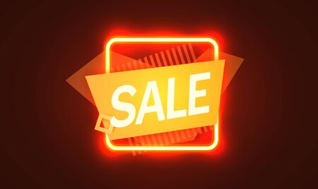 Neon sign, the word Sale on dark background. Discount Background for your design, greeting card, banner. Vector illustration Ilustração