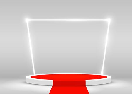 Stage Podium Scene for Award Ceremony illuminated with spotlight and red carpet. Award ceremony concept. Stage backdrop. Vector illustration Ilustração