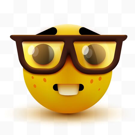 Emoji de cara de nerd, emoticon inteligente con gafas. Friki o estudiante.