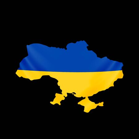 Ukraine flag in form of map. Ukraine. National flag and map concept.