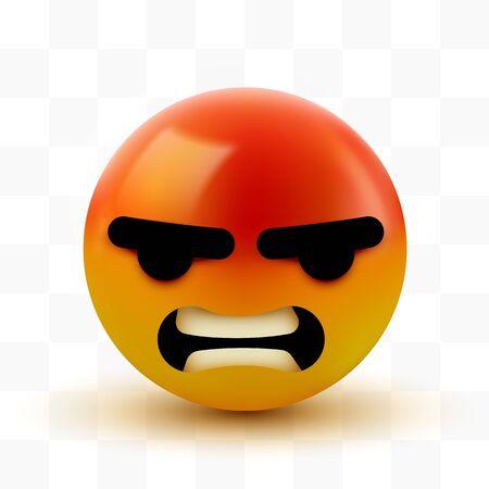 Angry, mad emoji, emoticon. Social media smiley.
