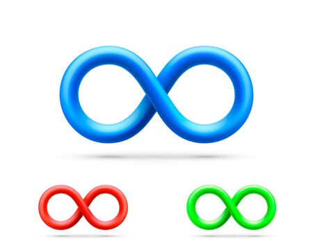 Symbol of infinity art info, color set collection.