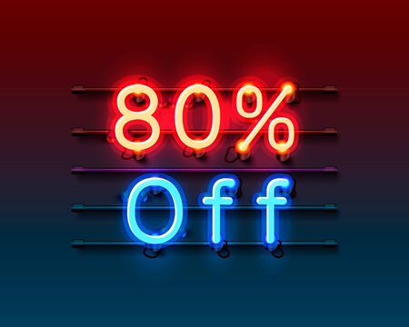 Neon frame 80 off text banner. Night Sign board. Vector illustration Ilustração