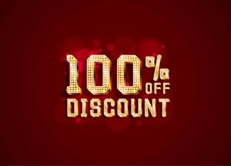 Neon 100 sale off text banner. Night Sign. Vector illustration Ilustração