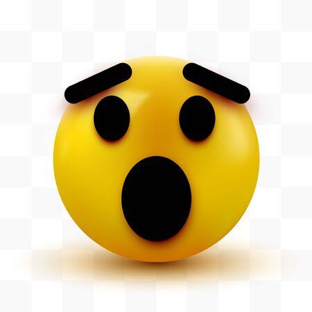 Überraschtes Emoji isoliert auf weißem Hintergrund, schockiertes Emoticon.