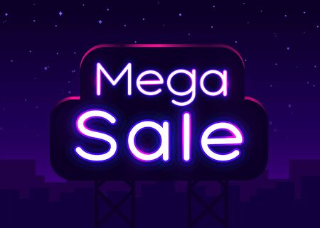 Neon sign, Mega Sale on dark background. Discount Background for your design, greeting card, banner. Vector illustration Ilustração