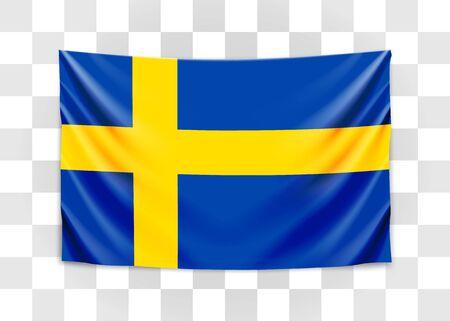 Hanging flag of Sweden. Kingdom of Sweden. National flag concept.
