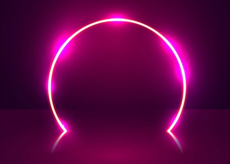 Neon show light podium futuristic background. Vector Vetores