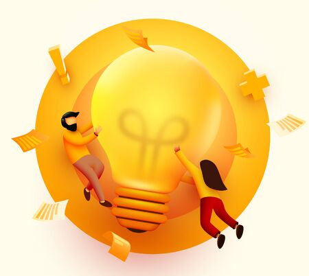 3d Business People with Big Light Bulb Idea. Innovation, Brainstorming, Creativity Concept. Characters Working Together on new Project. Vector illustration