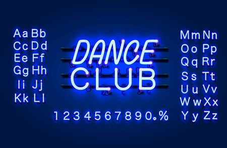 Neon Dance club text banner. Night Sign board. Vector illustration