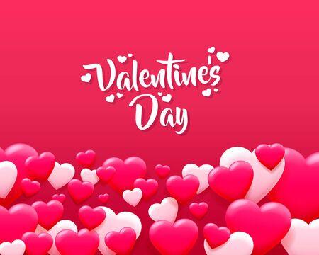 Pocztówka z pozdrowieniami Happy Valentines Day. Różowe serce z małych serduszek.