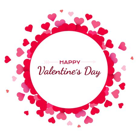 Valentines Day background with red hearts. Cute love banner or greeting card. Place for text. Happy valentines day. Vector illustration. Vector Illustration