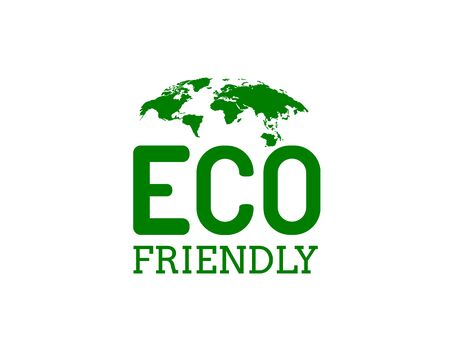 Ecology organic green planet earth. sign on a white background. Vector illustration Ilustracja
