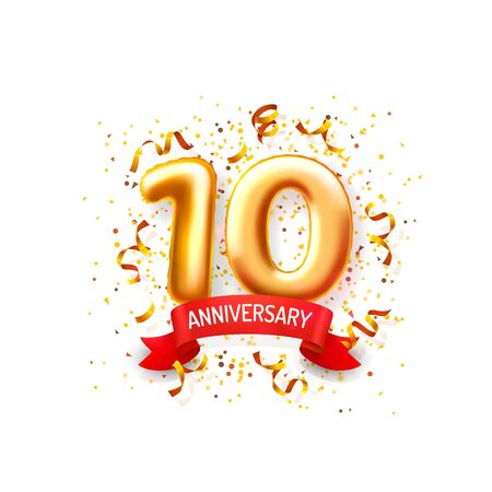Anniversary ceremony balloons, 10 numbers balloons banner. Vector illustration