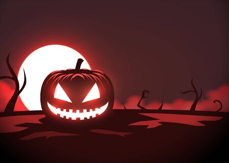 Silhouette of scary pumpkin, zombie hand on moon and fog background. Halloween party graphics design. Vector illustration
