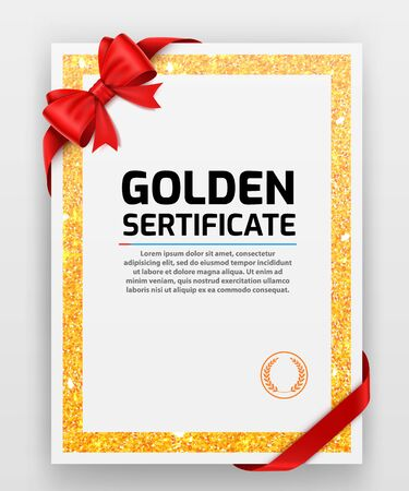 Blank paper with modern gold vector frame. Metal gradient. Template for certificate. Elegant color. Premium quality.