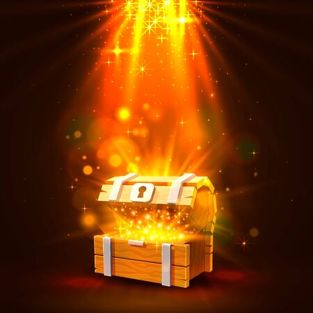 Open chest with gold, the bright background. Vector illustration Illustration