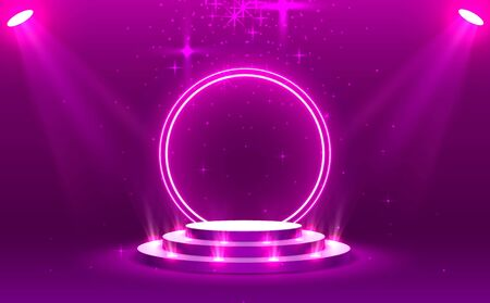 Stage podium with lighting, Stage Podium Scene with for Award Ceremony on purple Background, Vector illustration 일러스트
