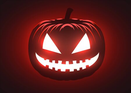 Silhouette of scary pumpkin. Halloween party graphics design. Vector illustration Фото со стока - 137970725