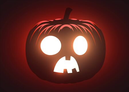 Silhouette of scary pumpkin. Halloween party graphics design. Vector illustration Фото со стока - 137970412