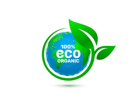 ECO green organic leaf of a tree, icon on a white background. Vector illustration Ilustracja