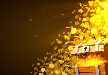 Open chest with gold, Falling from the top a lot of coins. Vector illustration