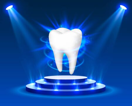 Tooth on a blue background, template design element, Vector illustration 向量圖像